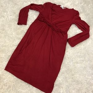 NEW Brick Red Drape Front Maternity Dress